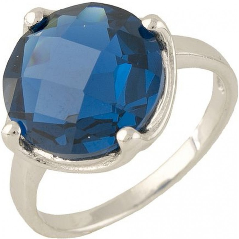 Серебряное кольцо SilverBreeze с топазом nano Лондон Блю (0704876) 18 размер