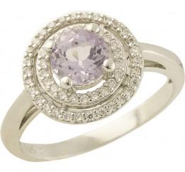 Серебряное кольцо SilverBreeze с натуральным аметистом (0438719)