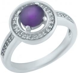 Серебряное кольцо SilverBreeze с натуральным аметистом (0438658) 16.5 размер