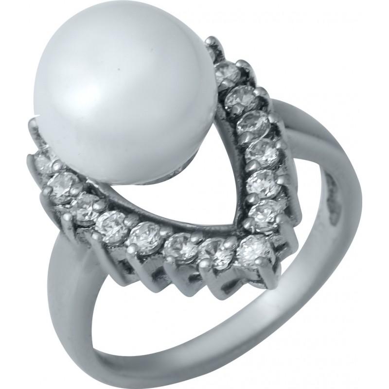 Серебряное кольцо SilverBreeze с натуральным жемчугом (0533308) 17 размер
