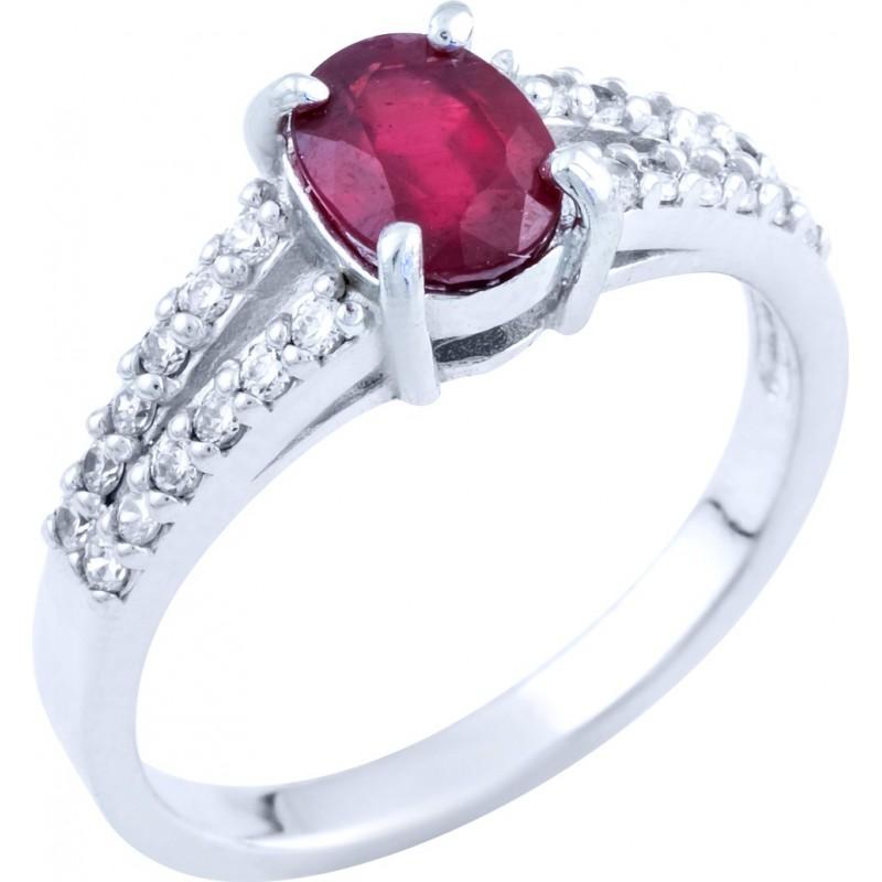 Серебряное кольцо SilverBreeze с натуральным рубином (0573694) 16.5 размер