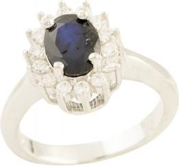 Серебряное кольцо SilverBreeze с натуральным сапфиром (0832098) 16.5 размер