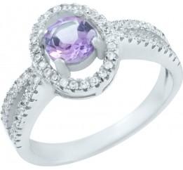 Серебряное кольцо SilverBreeze с натуральным аметистом (0839622) 18.5 размер