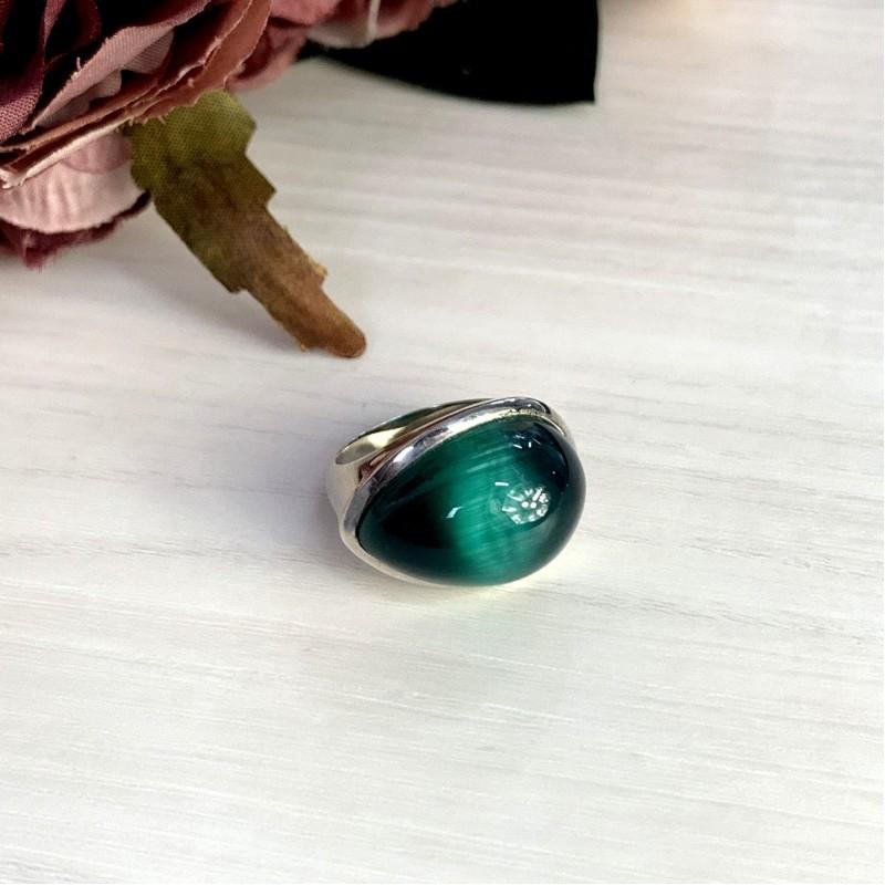 Серебряное кольцо SilverBreeze с кошачим глазом (0898391) 17 размер