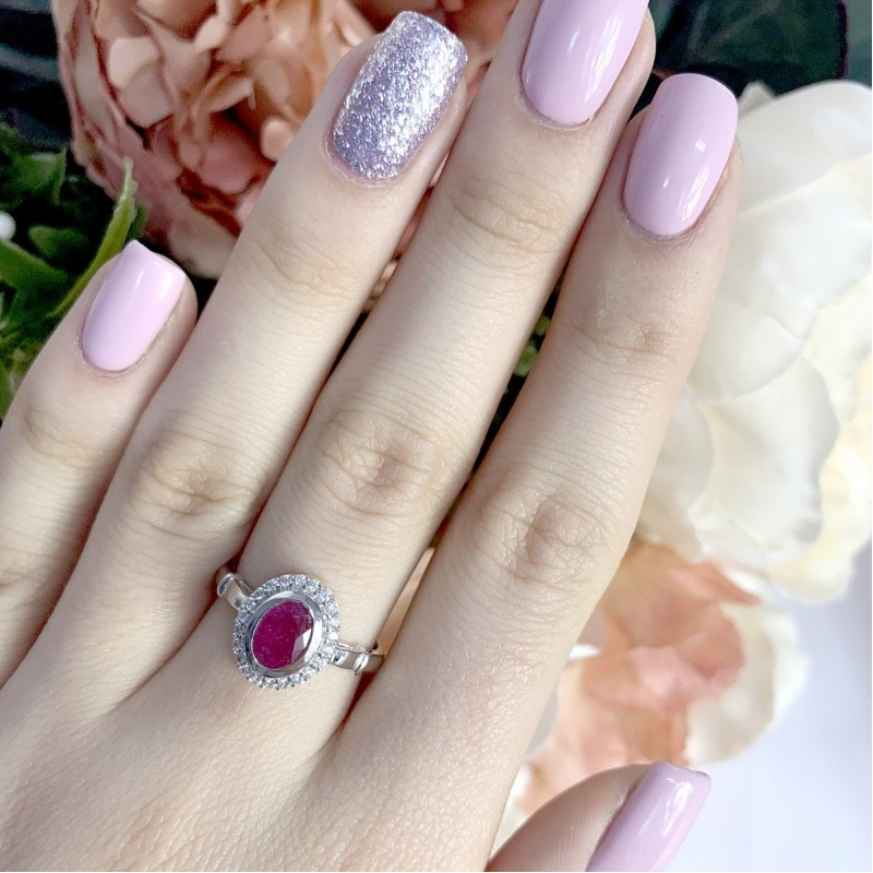 Серебряное кольцо SilverBreeze с натуральным рубином (1087992) 17.5 размер
