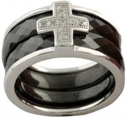 Серебряное кольцо SilverLine с керамикой (1150306) 17 размер