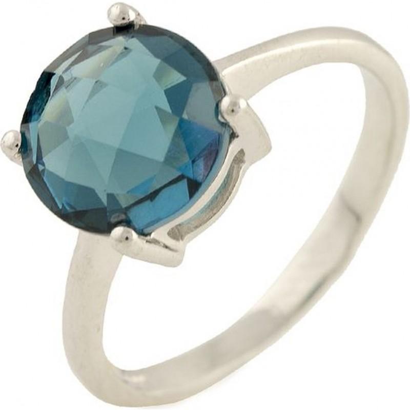 Серебряное кольцо SilverBreeze с натуральным топазом Лондон Блю (1194270) 18 размер