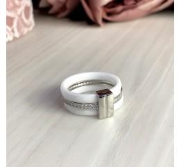 Серебряное кольцо SilverLine с керамикой (1214138) 17 размер