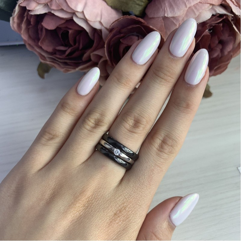 Серебряное кольцо SilverLine с керамикой (1214893) 16.5 размер