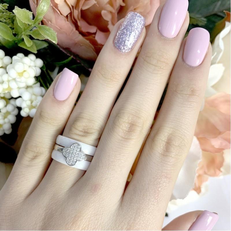 Серебряное кольцо SilverBreeze с керамикой (1223741) 17.5 размер
