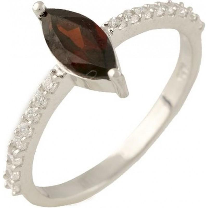 Серебряное кольцо SilverBreeze с натуральным гранатом (1228593) 18 размер