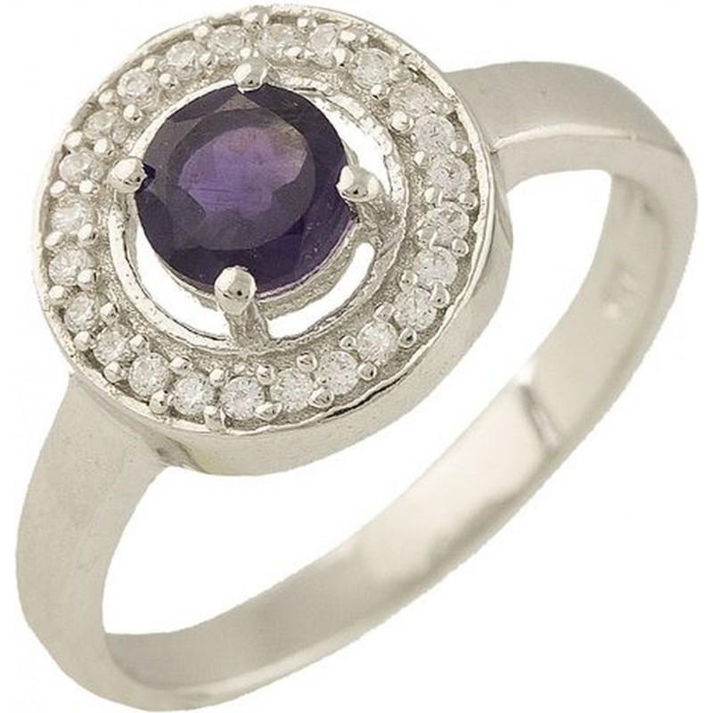 Серебряное кольцо SilverBreeze с натуральным аметистом (1229378) 16.5 размер