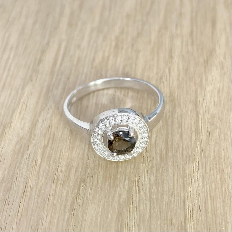 Серебряное кольцо SilverBreeze с натуральным раухтопазом (димчатим кварцем) (1232484) 18 размер