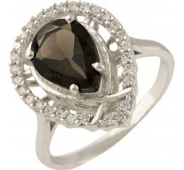 Серебряное кольцо SilverBreeze с натуральным раухтопазом (димчатим кварцем) (1232545) 17 размер