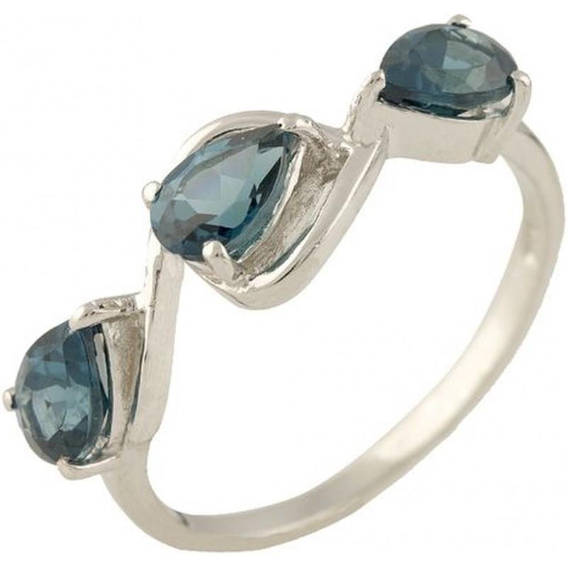 Серебряное кольцо SilverBreeze с натуральным топазом Лондон Блю (1250051) 17.5 размер