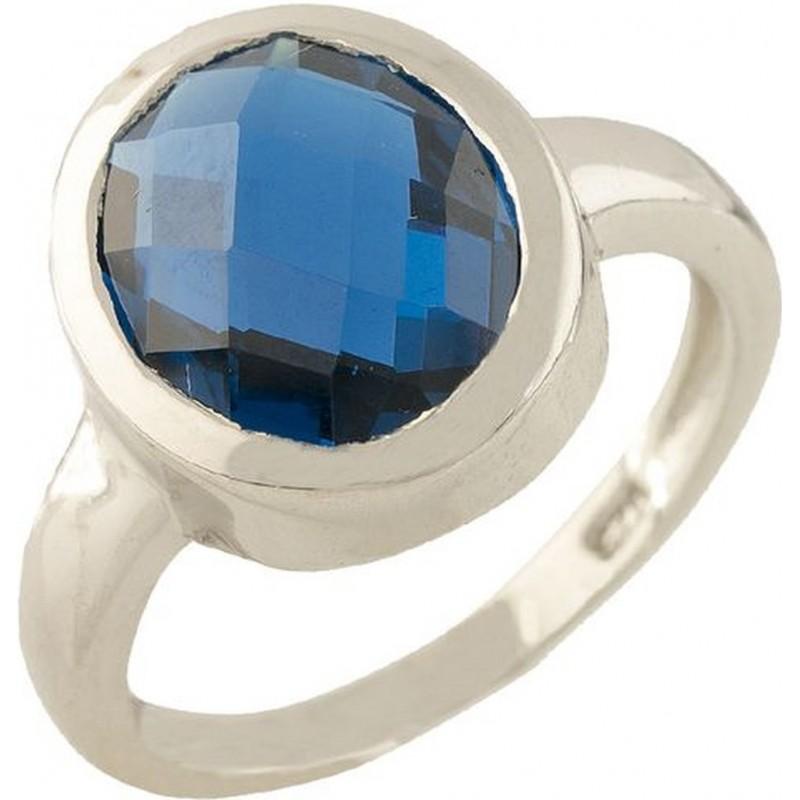 Серебряное кольцо SilverBreeze с топазом nano Лондон Блю (1315392) 17.5 размер