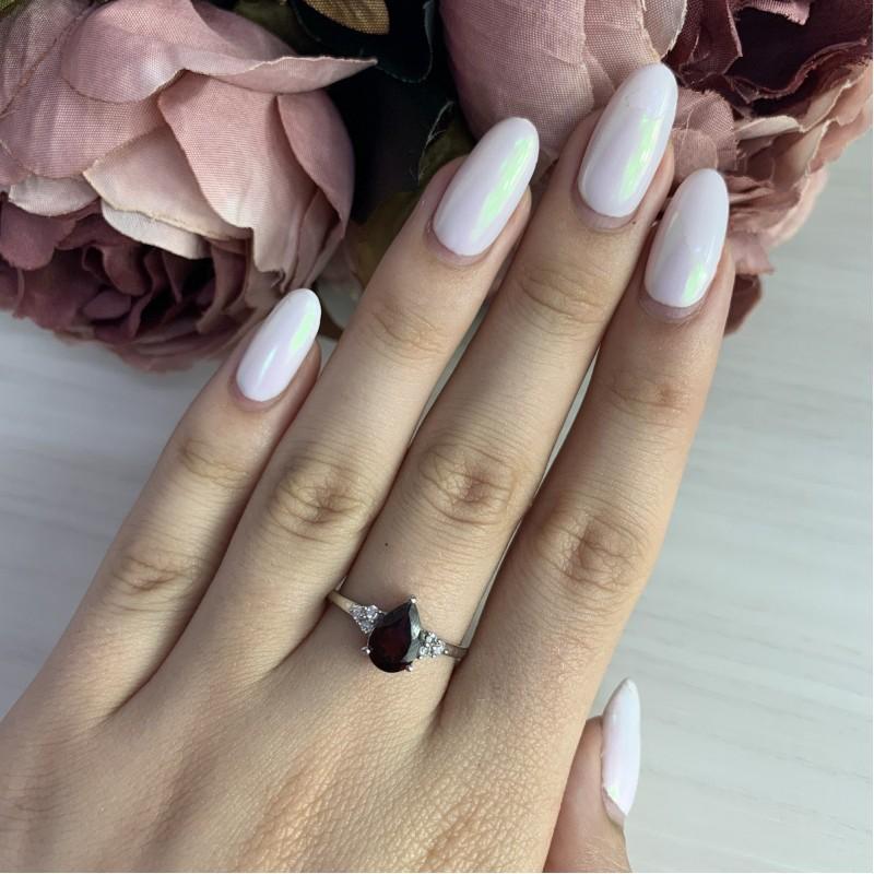 Серебряное кольцо SilverBreeze с натуральным гранатом (1317877) 17 размер