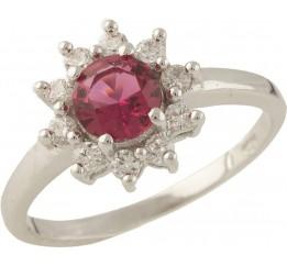 Серебряное кольцо SilverBreeze с рубином nano (1360330) 17 размер
