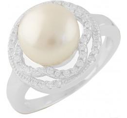 Серебряное кольцо SilverBreeze с натуральным жемчугом (1404218) 17 размер