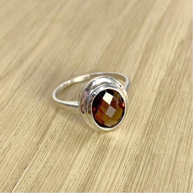 Серебряное кольцо SilverLine с натуральным гранатом (1451564) 18 размер