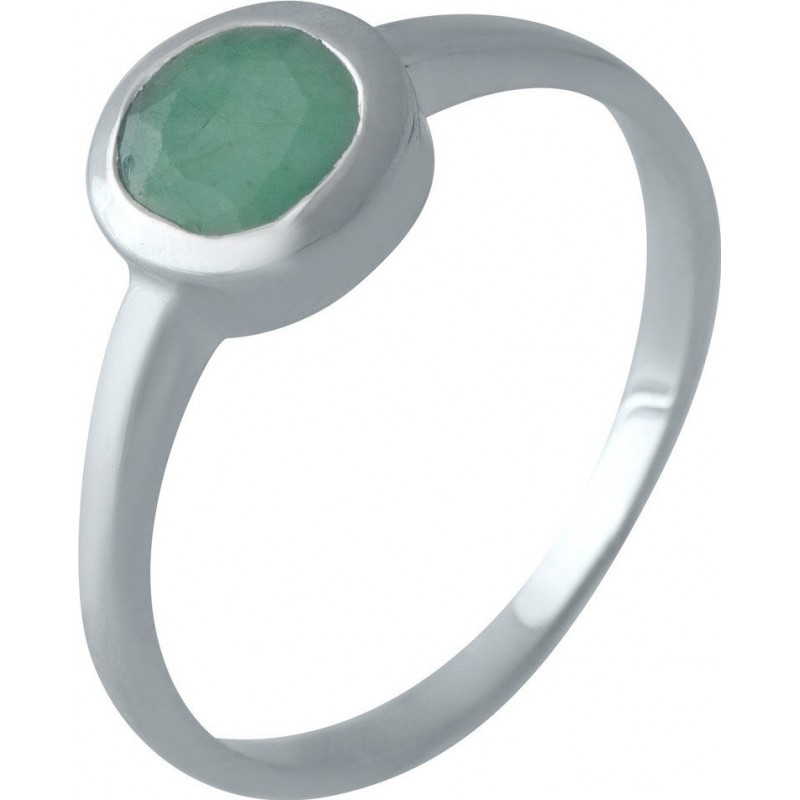 Серебряное кольцо SilverLine с натуральным изумрудом (1516904) 17.5 размер