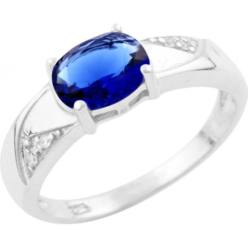 Серебряное кольцо SilverBreeze с сапфиром nano (1633670) 17 размер