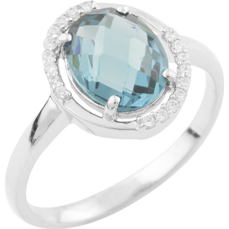 Серебряное кольцо SilverBreeze с натуральным топазом Лондон Блю (1634264) 18.5 размер