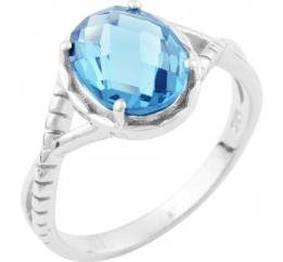 Серебряное кольцо SilverBreeze с натуральным топазом Лондон Блю (1634288) 18 размер