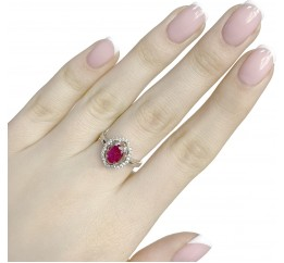 Серебряное кольцо SilverBreeze с натуральным рубином (1634530) 18 размер