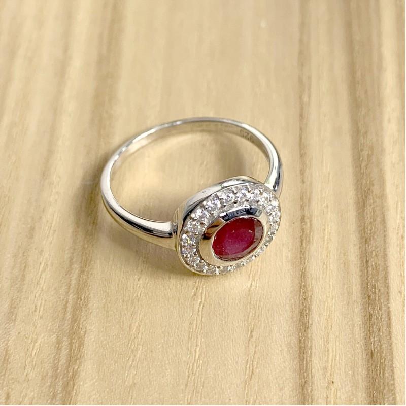 Серебряное кольцо SilverBreeze с натуральным рубином (1634554) 18 размер