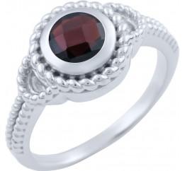 Серебряное кольцо SilverBreeze с натуральным гранатом (1663677) 17.5 размер