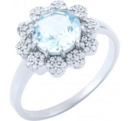 Серебряное кольцо SilverBreeze с натуральным топазом (1663783) 19 размер