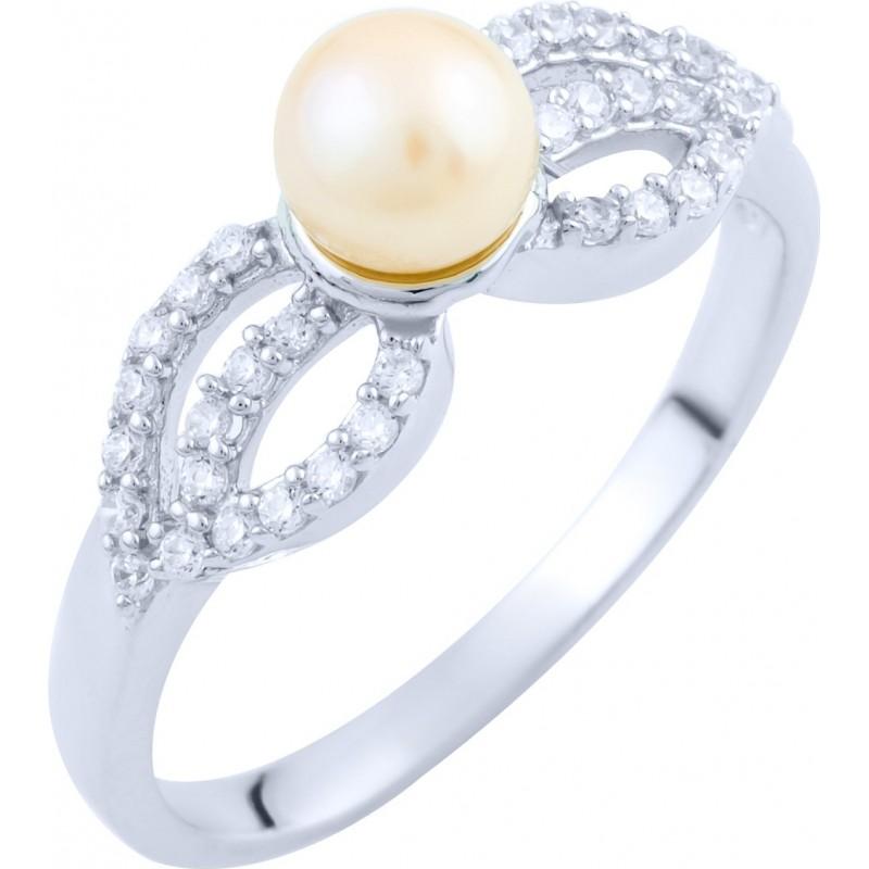 Серебряное кольцо SilverBreeze с натуральным жемчугом (1763315) 17 размер