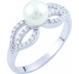 Серебряное кольцо SilverBreeze с натуральным жемчугом (1763322) 17 размер