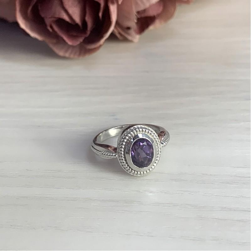 Серебряное кольцо SilverBreeze с олександритом (1765364) 17 размер
