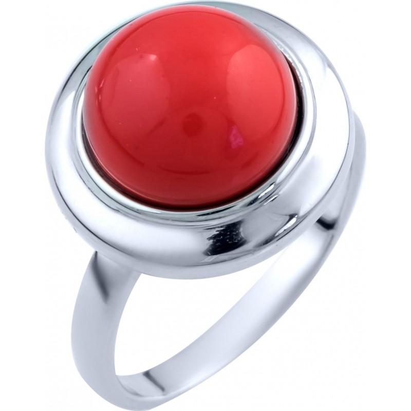 Серебряное кольцо SilverBreeze с кораллом (1803011) 16.5 размер