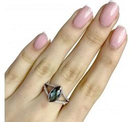 Серебряное кольцо SilverBreeze с натуральным топазом Лондон Блю (1823767) 17.5 размер