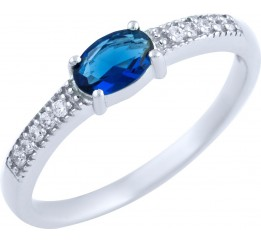 Серебряное кольцо SilverLine с сапфиром nano (1891445) 18 размер