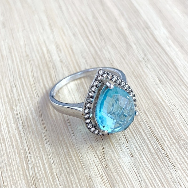 Серебряное кольцо SilverBreeze с аквамарином nano (1903339) 17.5 размер