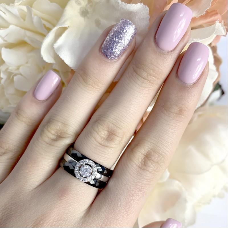 Серебряное кольцо SilverLine с керамикой (1903858) 18.5 размер