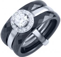 Серебряное кольцо SilverLine с керамикой (1903858) 16.5 размер