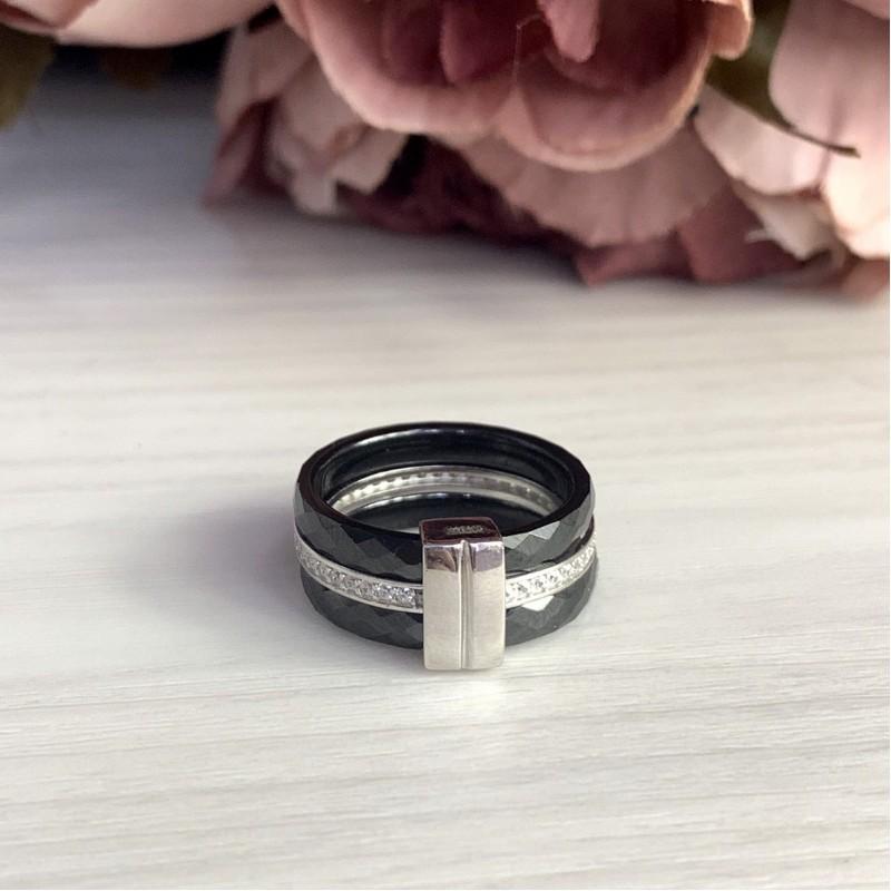 Серебряное кольцо SilverLine с керамикой (1903896) 17.5 размер