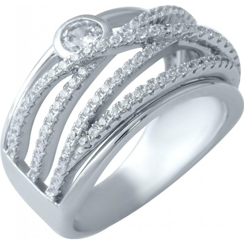 Серебряное кольцо SilverBreeze с фианитами (1905999) 17 размер