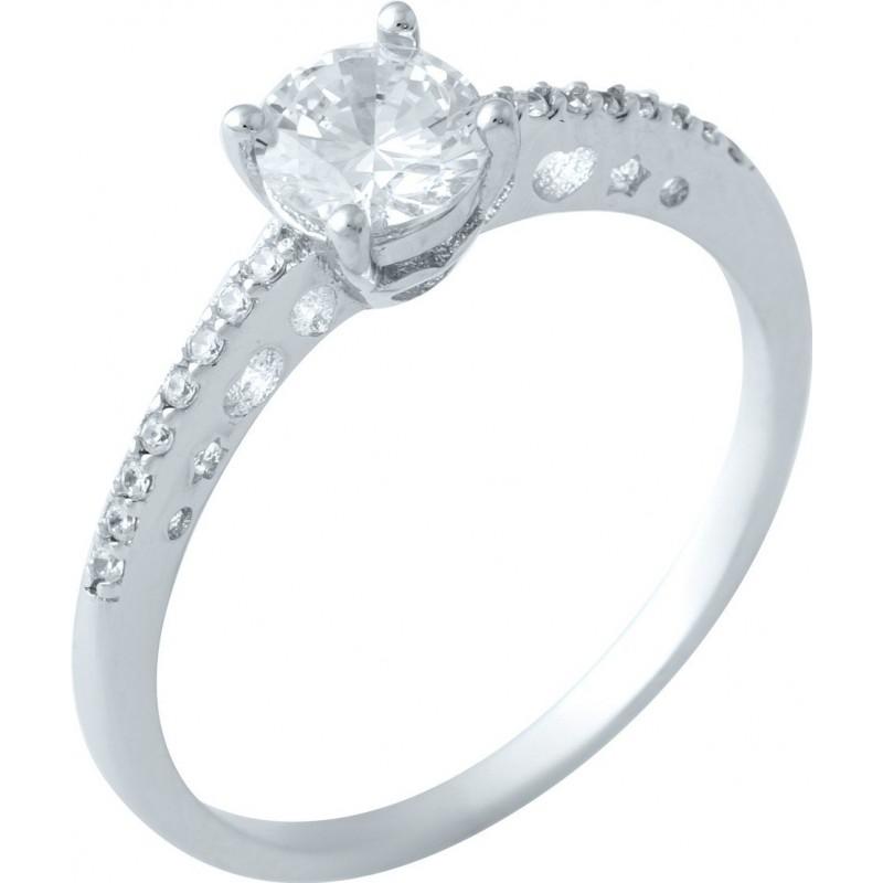 Серебряное кольцо SilverBreeze с фианитами (1914595) 17.5 размер