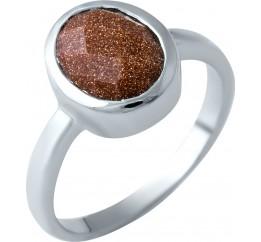 Серебряное кольцо SilverBreeze с натуральным авантюрином (1916797) 18 размер