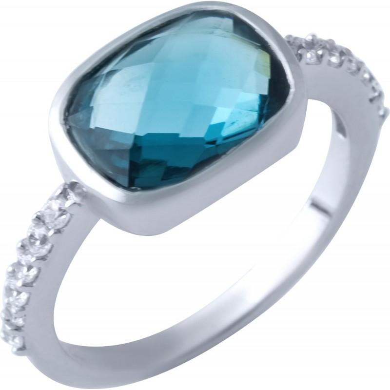 Серебряное кольцо SilverBreeze с натуральным топазом Лондон Блю (1917183) 16.5 размер