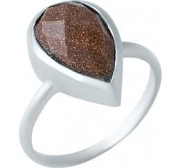 Серебряное кольцо SilverBreeze с натуральным авантюрином (1921975) 18 размер
