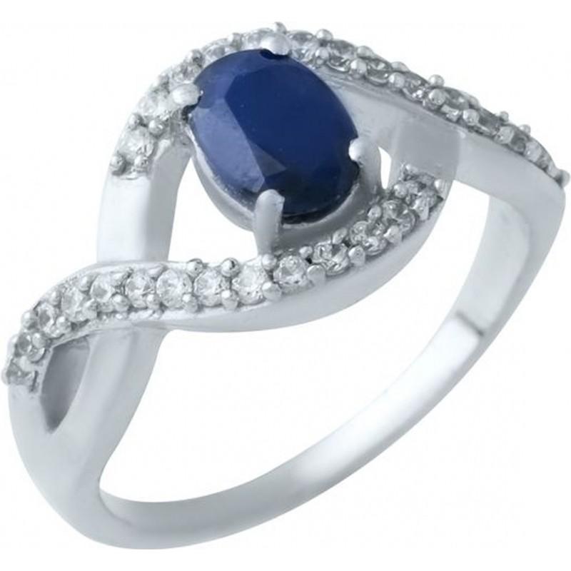 Серебряное кольцо SilverBreeze с натуральным сапфиром (1923962) 17 размер