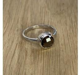 Серебряное кольцо SilverBreeze с натуральным раухтопазом (димчатим кварцем) (1924938) 18 размер