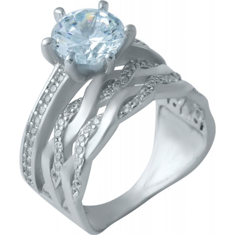 Серебряное кольцо SilverBreeze с фианитами (1925416) 17.5 размер